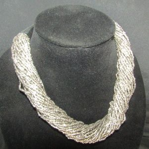 Jewelry - Silver seed bead collar necklace NWOT